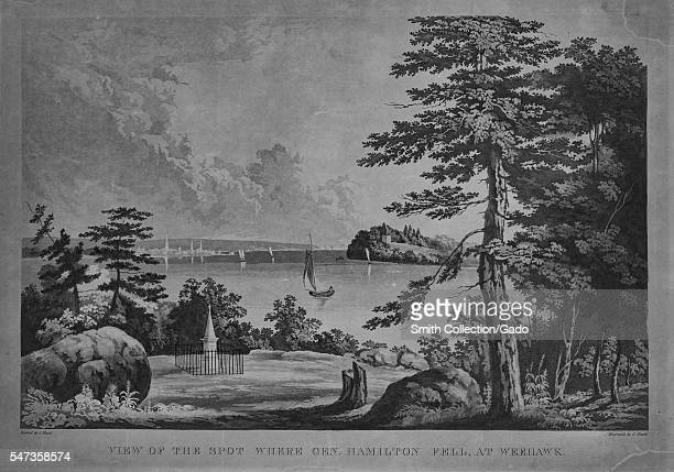 Etching from a landscape painting of location of the duel between Alexander Hamilton and Aaron Burr Weehawken New Jersey 1830 From the New York...
