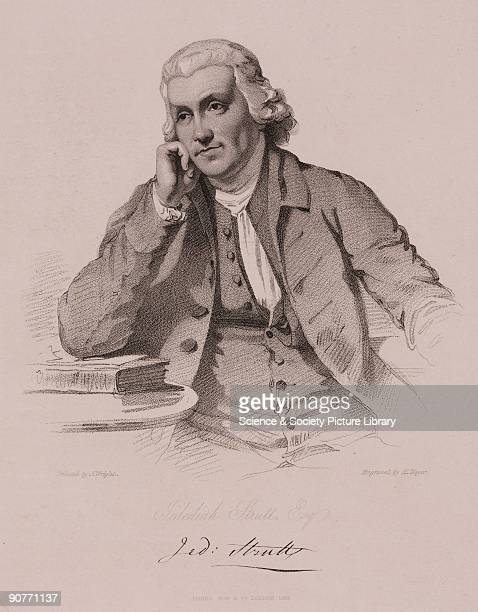 Etching Jedediah Strutt a key figure in the Industrial Revolution in Britain first made his fortune in the 1750s by devising �the Derby Rib Machine�...