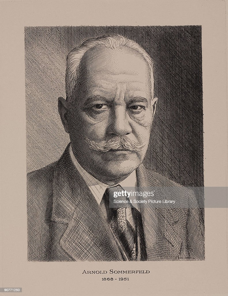 Etching of Arnold Sommerfield (1868-1951), the German physicist who modified Niel Bohr's model of the atom in 1916. He lectured for many years at the University of Munich in Germany. Printed by the International Telecommunication Union (1955-1964).