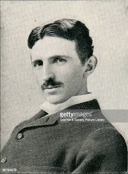 Etching of Nikola Tesla naturalised American physicist and electrical engineer who was born in Croatia to Serbian parents Tesla was the inventor of...