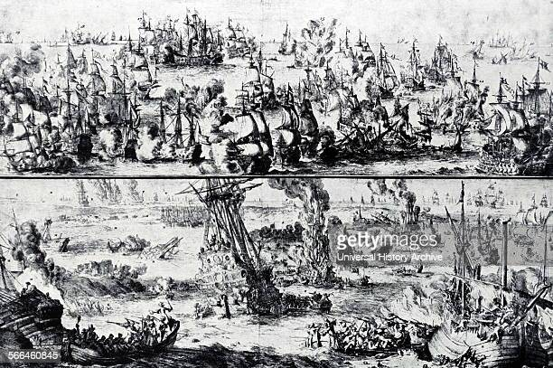 Etching of the Battles of Barfleur and La Hogue Above The Fleets engaged off Barfleur Below The Ambitieux and other French Ships destroyed in the Bay...