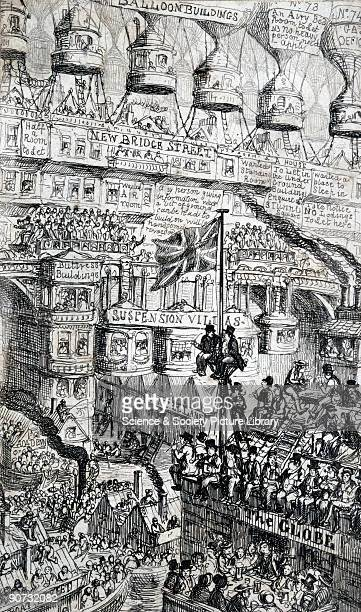 Etching satirising the effects of potential overpopulation by George Cruikshank It shows people having to go to extraordinary lengths to escape their...