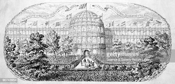 Etching satirising the Great Exhibition by George Cruikshank. The 'Great Exhibition of the Works of the Industry of all Nations', was an idea...