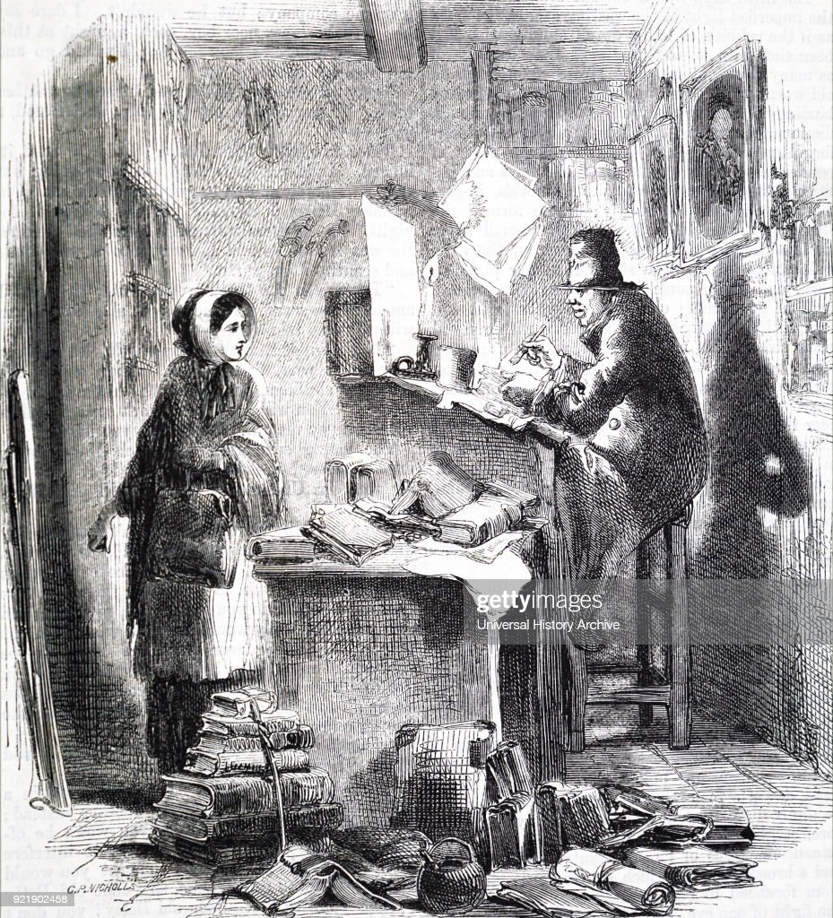 Etching titled 'Bookseller' depicting a young woman leaving the chaotic book store. Dated 19th century.