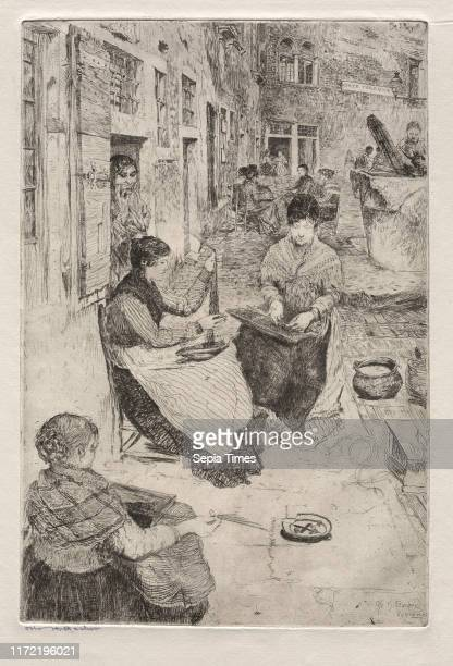 Bead Stringers, 1882. Otto H. Bacher . Etching; plate: 33.3 x 22.5 cm .