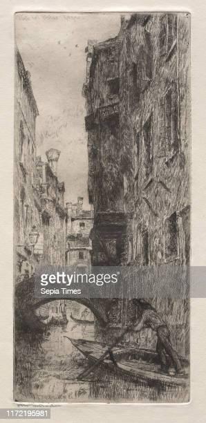 Ponte del Pistor, Venice, 1880. Otto H. Bacher . Etching.