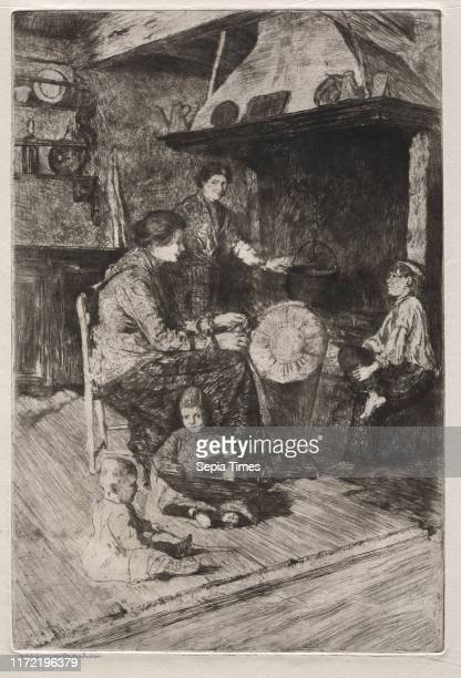 The Lace Makers 19th century Otto H Bacher Etching