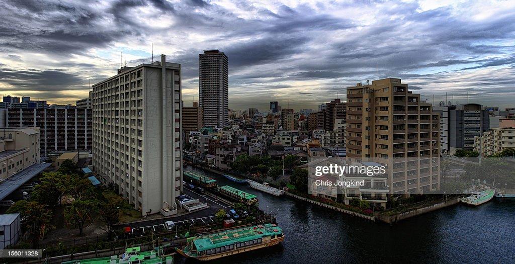 Etchujima skyline, Tokyo : Stock Photo