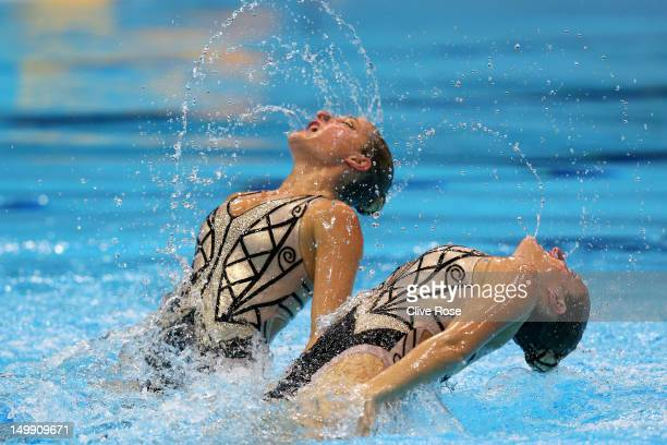 Etel Sanchez and Sofia Sanchez of Argentina compete in the Women's Duets Synchronised Swimming Free Routine Preliminary on Day 10 of the London 2012...