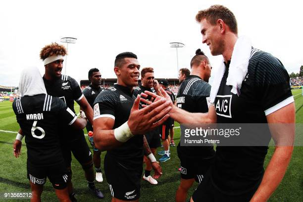 Etene NanaiSeturo of New Zealand shakes hands with Scott Curry of New Zealand after beating Scotland during the 2018 New Zealand Sevens at FMG...