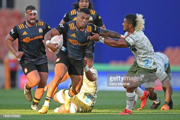 Etene Nanai-Seturo of the Chiefs in action during the round two Super Rugby Aotearoa match between the Chiefs and the Highlanders at FMG Stadium...