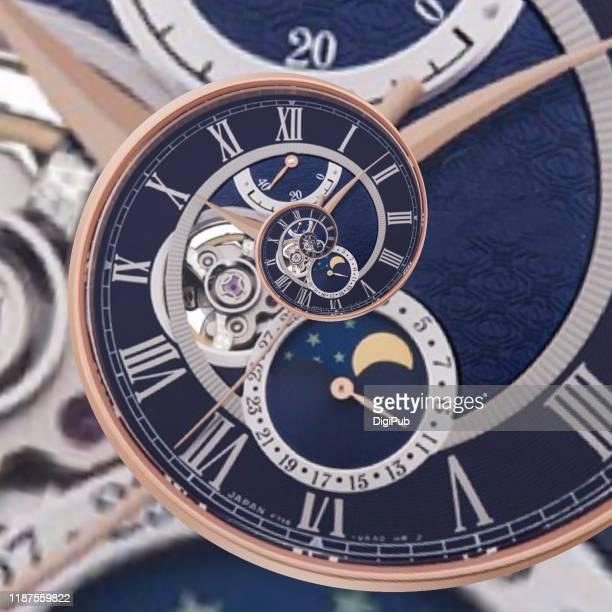 eternal clock face generated from photograph of wristwatch - clocks go forward stock pictures, royalty-free photos & images
