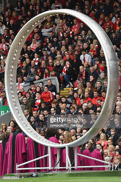 Eternal ring during the memorial service marking the 26th anniversary of the Hillsborough Disaster at Anfield Stadium on April 15 2015 in Liverpool...