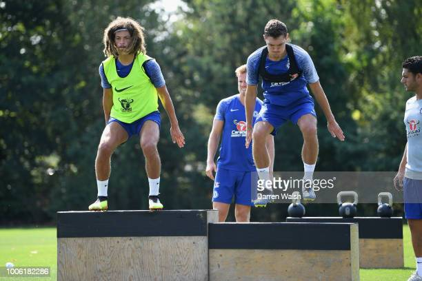 Ethan Ampadu and Andreas Christensen of Chelsea during a training session at Chelsea Training Ground on July 27 2018 in Cobham England