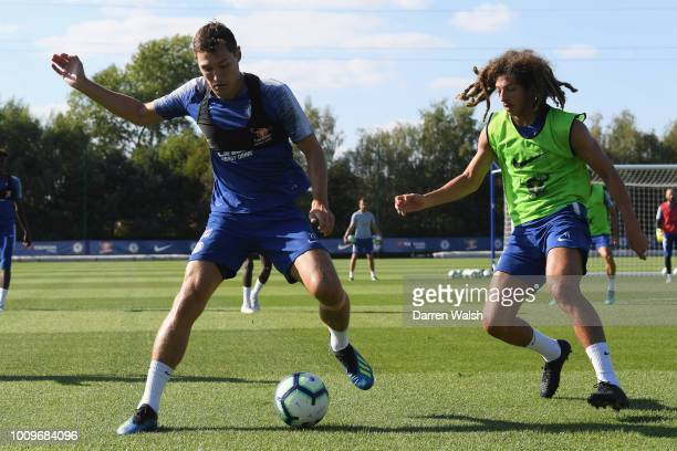 Ethan Ampadu and Andreas Christensen of Chelsea fight for the ball during a training session at Chelsea Training Ground on August 2 2018 in Cobham...