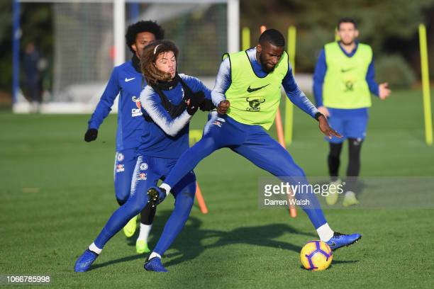 Ethan Ampadu and Antonio Rudiger of Chelsea during a training session at Chelsea Training Ground on November 30 2018 in Cobham England