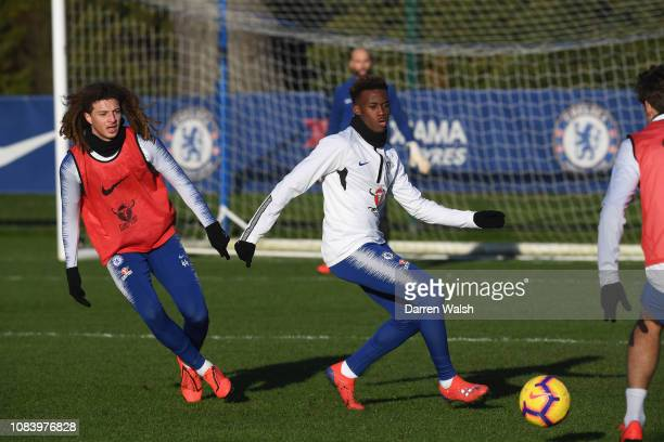 Ethan Ampadu and Callum HudsonOdoi of Chelsea during a training session at Chelsea Training Ground on January 17 2019 in Cobham England