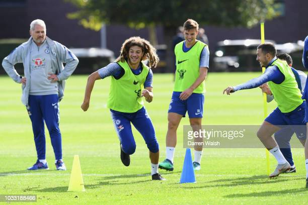 Ethan Ampadu and Eden Hazard of Chelsea during a training session at Chelsea Training Ground on September 14 2018 in Cobham England
