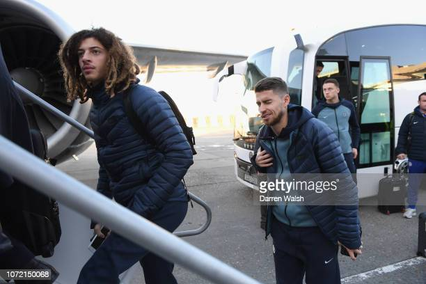 Ethan Ampadu and Jorginho of Chelsea travel to Budapest at Gatwick Airport on December 12 2018 in Cobham England