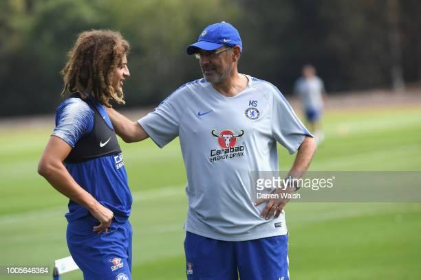 Ethan Ampadu and Maurizio Sarri of Chelsea during a training session at Chelsea Training Ground on July 26 2018 in Cobham England