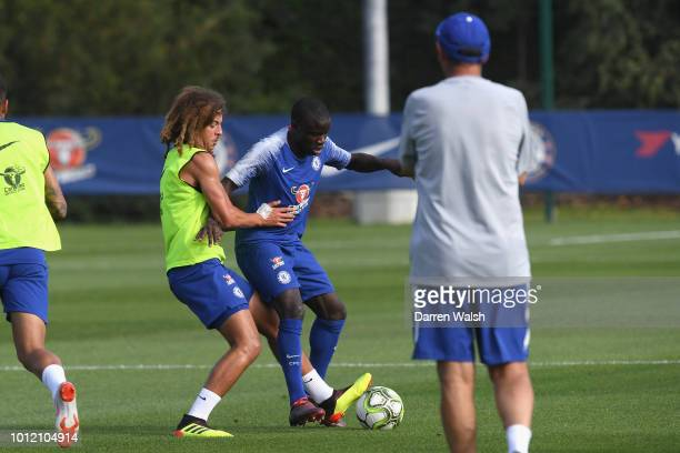 Ethan Ampadu and N'Golo Kante of Chelsea during a training session at Chelsea Training Ground on August 6 2018 in Cobham England