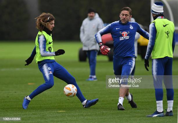 Ethan Ampadu and Rob Green of Chelsea during an open training session at Chelsea Training Ground on November 26 2018 in Cobham England