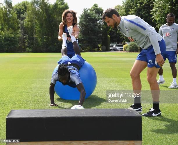 Ethan Ampadu and Tiemoue Bakayoko of Chelsea during a training session at Chelsea Training Ground on July 10 2018 in Cobham England