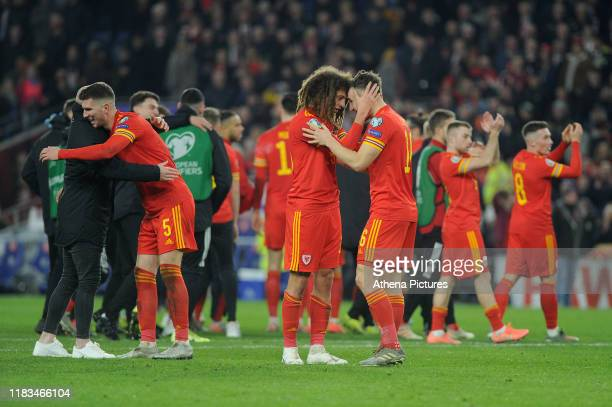 Ethan Ampadu andTom Lockyer of Wales celebrate at full time during the UEFA Euro 2020 Group E Qualifier match between Wales and Hungary at the...