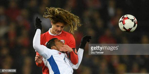 Ethan Ampadu climbs above Panama player Manuel Vargas during the International Friendly match between Wales and Panama at Cardiff City Stadium on...