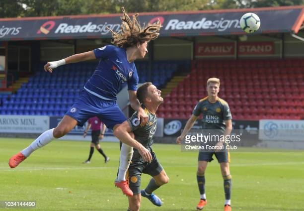 Ethan Ampadu heads towards goal of Chelsea during the Chelsea v Leicester City Premier League 2 match at on September 16 2018 in Aldershot England