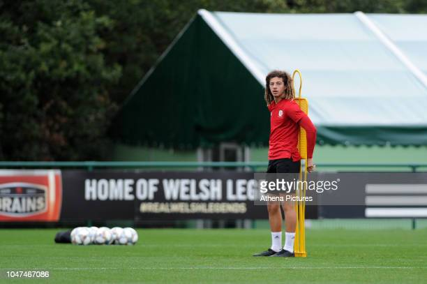 Ethan Ampadu in action during the Wales Training Session at The Vale Resort on October 8 2018 in Cardiff Wales
