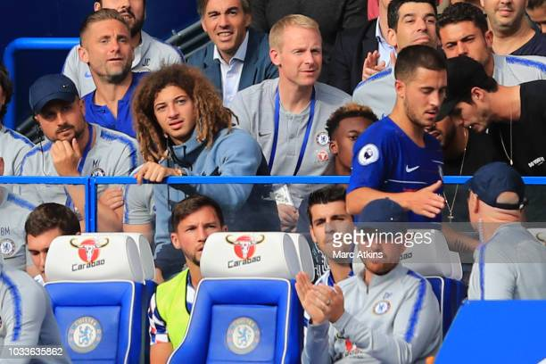 Ethan Ampadu looks on as team mate Eden Hazard of Chelsea is substituted during the Premier League match between Chelsea FC and Cardiff City at...