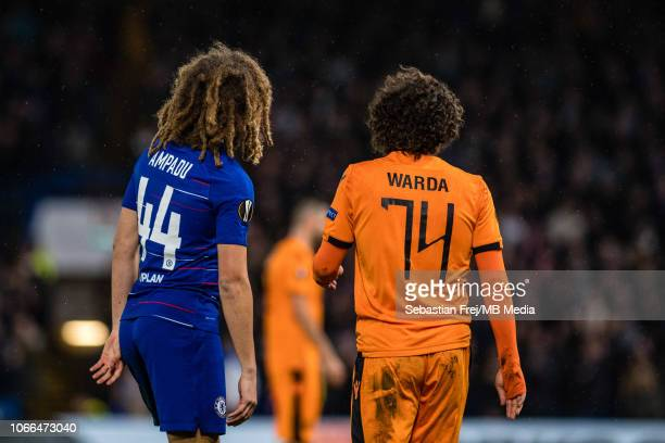 Ethan Ampadu of Chelsea and Amr Warda of PAOK during the UEFA Europa League Group L match between Chelsea and PAOK at Stamford Bridge on November 29...