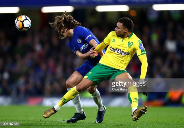 Ethan Ampadu of Chelsea and Josh Murphy of Norwich City in action during The Emirates FA Cup Third Round Replay between Chelsea and Norwich City at...