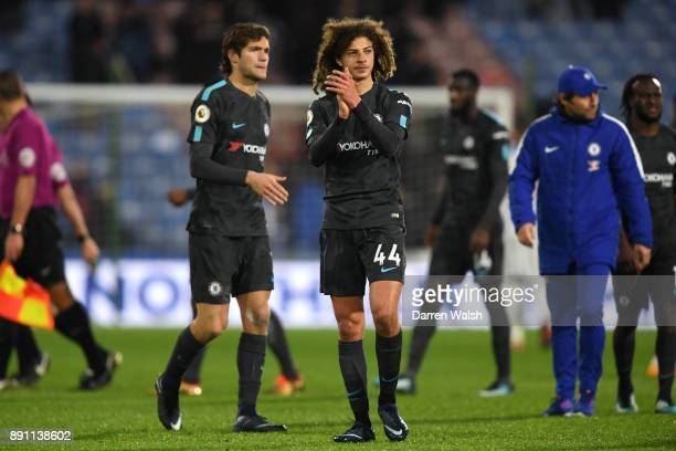 Ethan Ampadu of Chelsea applauds fans after the Premier League match between Huddersfield Town and Chelsea at John Smith's Stadium on December 12...