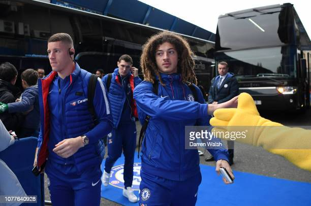 Ethan Ampadu of Chelsea arrives at the stadium prior to the FA Cup Third Round match between Chelsea and Nottingham Forest at Stamford Bridge on...