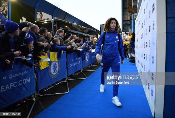 Ethan Ampadu of Chelsea arrives at the stadium prior to the Premier League match between Chelsea FC and Newcastle United at Stamford Bridge on...