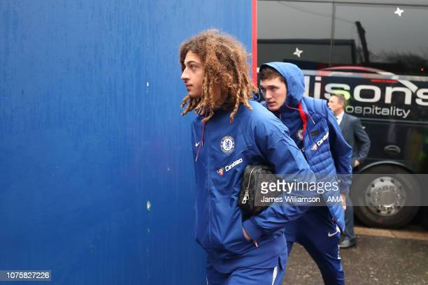 Ethan Ampadu of Chelsea arriving at Selhurst Park before the Premier League match between Crystal Palace and Chelsea FC at Selhurst Park on December...