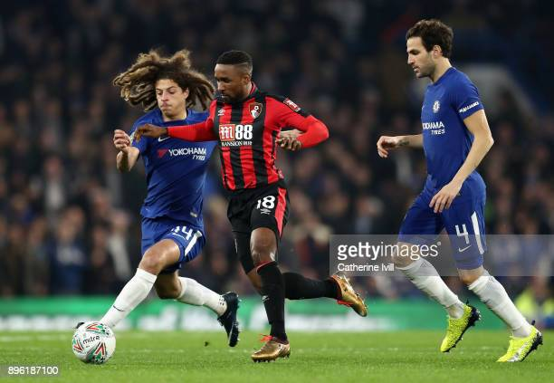 Ethan Ampadu of Chelsea battles for possesion with Jermain Defoe of AFC Bournemouth during the Carabao Cup QuarterFinal match between Chelsea and AFC...