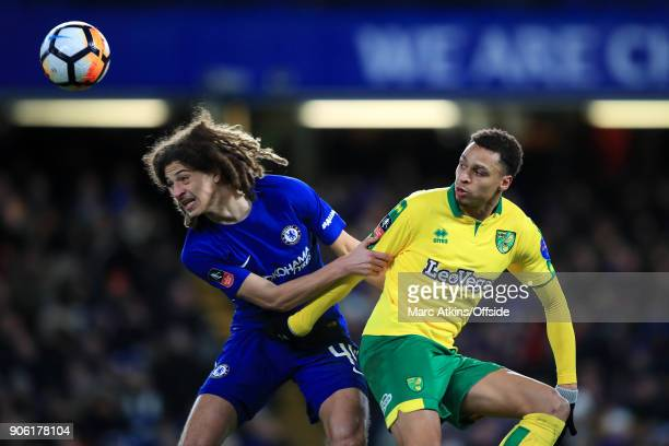Ethan Ampadu of Chelsea battles with Josh Murphy of Norwich during The Emirates FA Cup Third Round Replay match between Chelsea and Norwich City at...