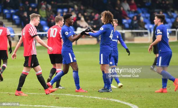 Ethan Ampadu of Chelsea celebrates Chelsea's third goal with Ike Ugbo during the Premier League 2 match between Sunderland U23 and Chelsea U23 at...