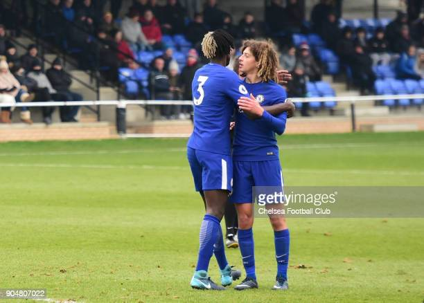 Ethan Ampadu of Chelsea celebrates Chelsea's third goal with Trevoh Chalobah during the Premier League 2 match between Sunderland U23 and Chelsea U23...