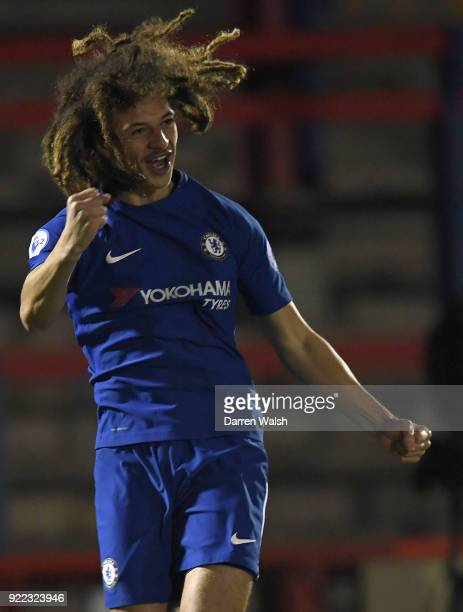 Ethan Ampadu of Chelsea celebrates his goal and Chelsea's 1st during the UEFA Youth League Round of 16 match between Chelsea FC and Feyenoord at EBB...