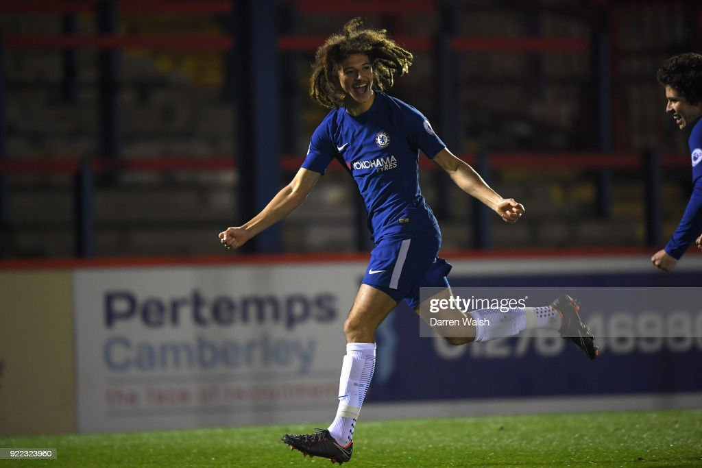 Ethan Ampadu of Chelsea celebrates his goal and Chelsea's 1st during the UEFA Youth League Round of 16 match between Chelsea FC and Feyenoord at EBB Stadium on February 21, 2018 in Aldershot, United Kingdom.