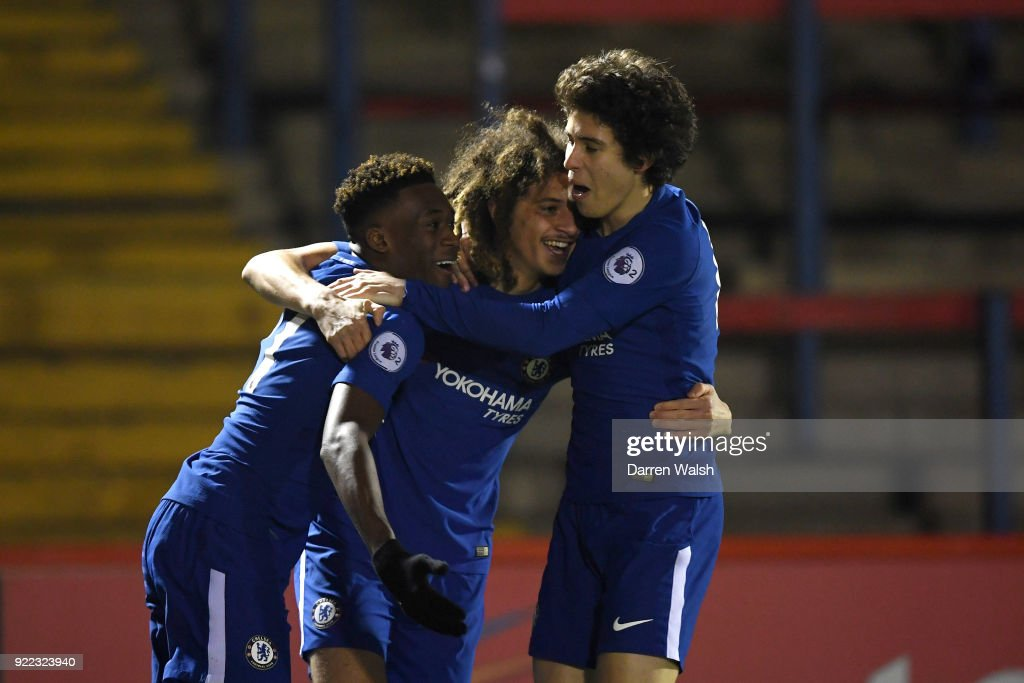 Ethan Ampadu of Chelsea celebrates his goal and Chelsea's 1st with Callum Hudson Odoi and Harvey St Clair during the UEFA Youth League Round of 16 match between Chelsea FC and Feyenoord at EBB Stadium on February 21, 2018 in Aldershot, United Kingdom.