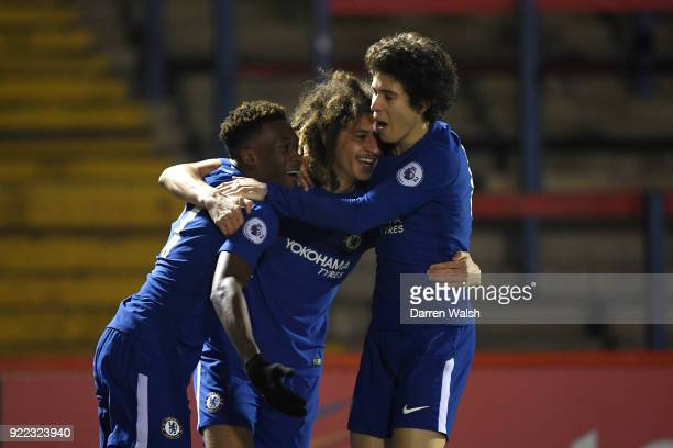 Ethan Ampadu of Chelsea celebrates his goal and Chelsea's 1st with Callum Hudson Odoi and Harvey St Clair during the UEFA Youth League Round of 16...