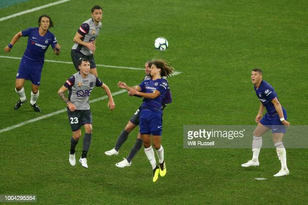 Ethan Ampadu of Chelsea clashes heads with Ivan Franjic of the Glory during the international friendly between Chelsea FC and Perth Glory at Optus...