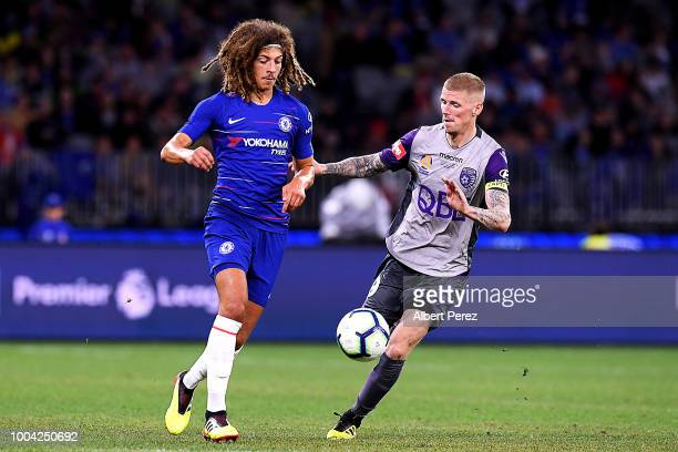 Ethan Ampadu of Chelsea clears the ball during the international friendly between Chelsea FC and Perth Glory at Optus Stadium on July 23 2018 in...