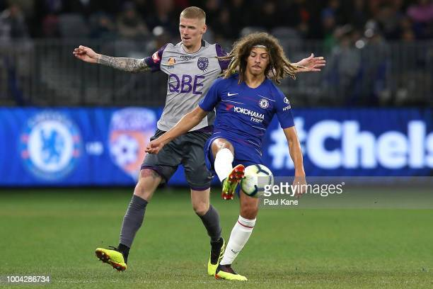Ethan Ampadu of Chelsea clears the ball from Andy Keogh of the Glory during the international friendly between Chelsea FC and Perth Glory at Optus...