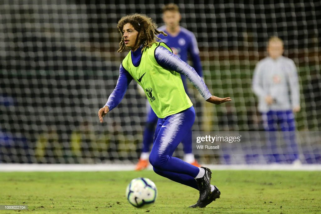 Ethan Ampadu of Chelsea during a Chelsea FC training session at The WACA on July 21, 2018 in Perth, Australia.